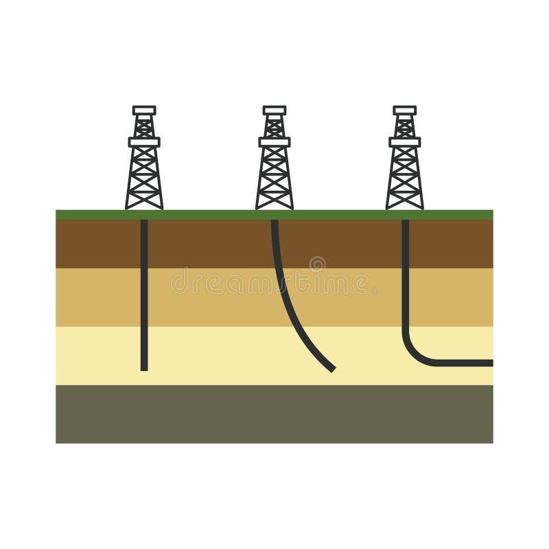 Grafisk färgrik vektorillustration för fossila bränslenbransch T vektor illustrationer