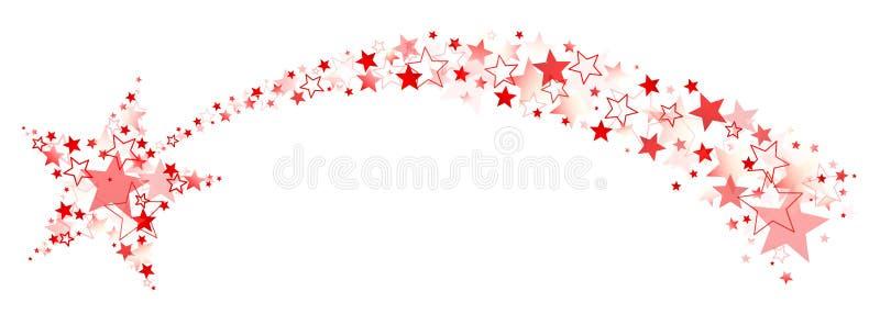 Grafisk fallande stjärna med svansen ut ur röda stora och små stjärnor vektor illustrationer