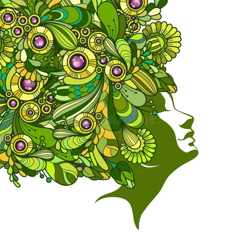 Grafisk flicka med dekorativt utsmyckat hår vektor illustrationer