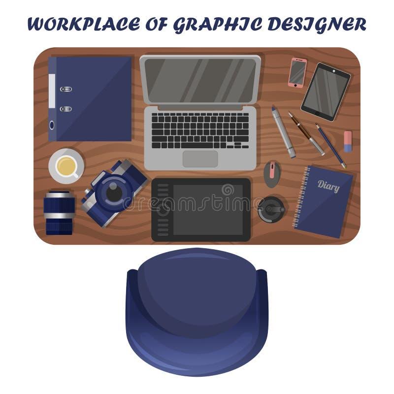 Grafisk formgivare för arbetsplats, fotograf ovanf?r sikt royaltyfri illustrationer