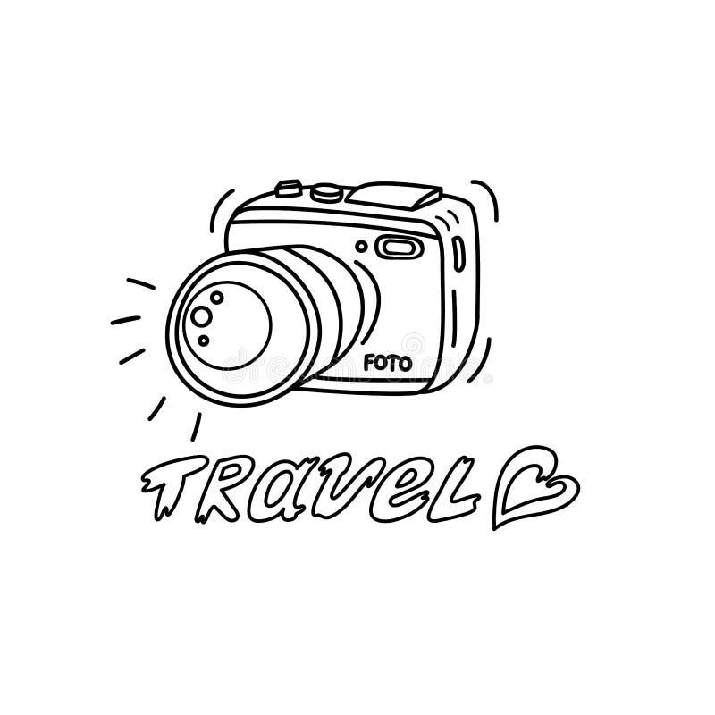 Grafisk fotokamera med inskriftlopp och hjärta stock illustrationer