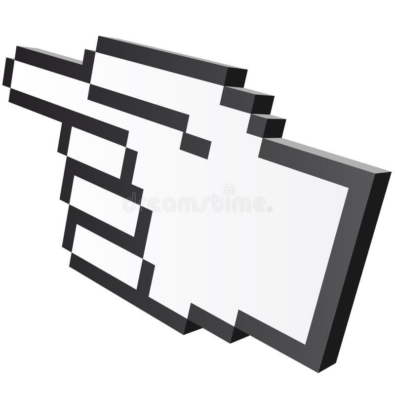 grafisk hand för PIXEL 3D - pekfinger stock illustrationer