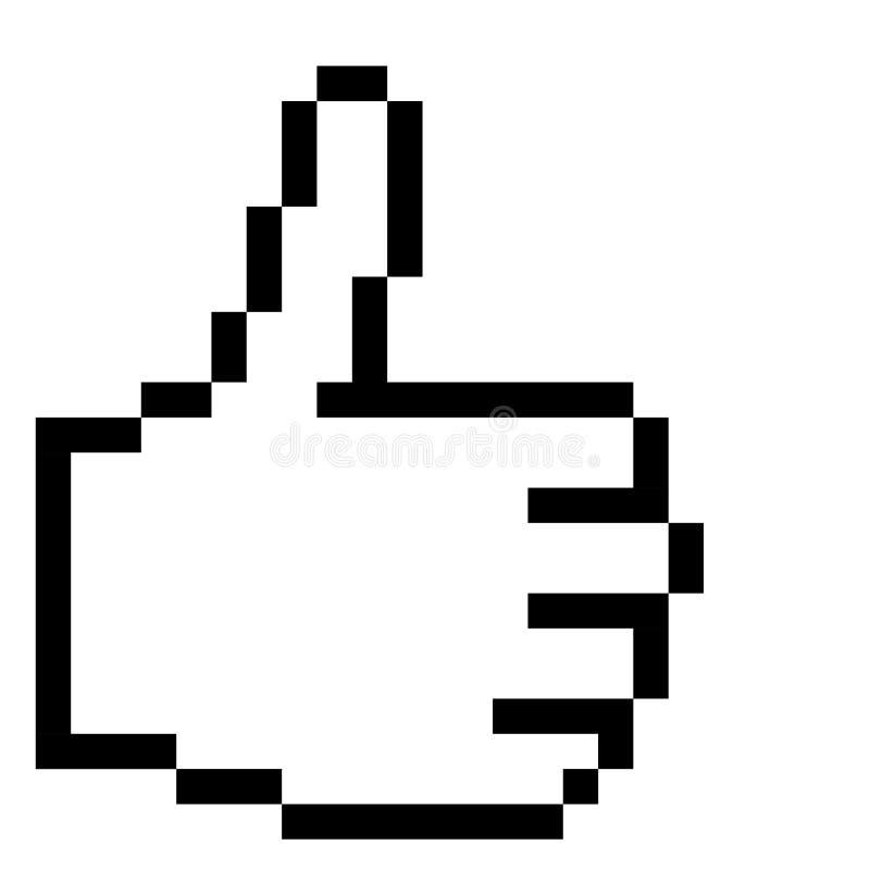 Grafisk hand för PIXEL - tummar upp! vektor illustrationer