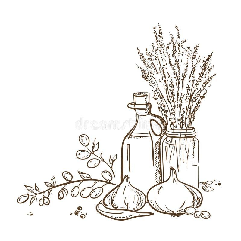 Grafisk illustration av den olivgröna filialen och en flaska av oliv royaltyfri illustrationer