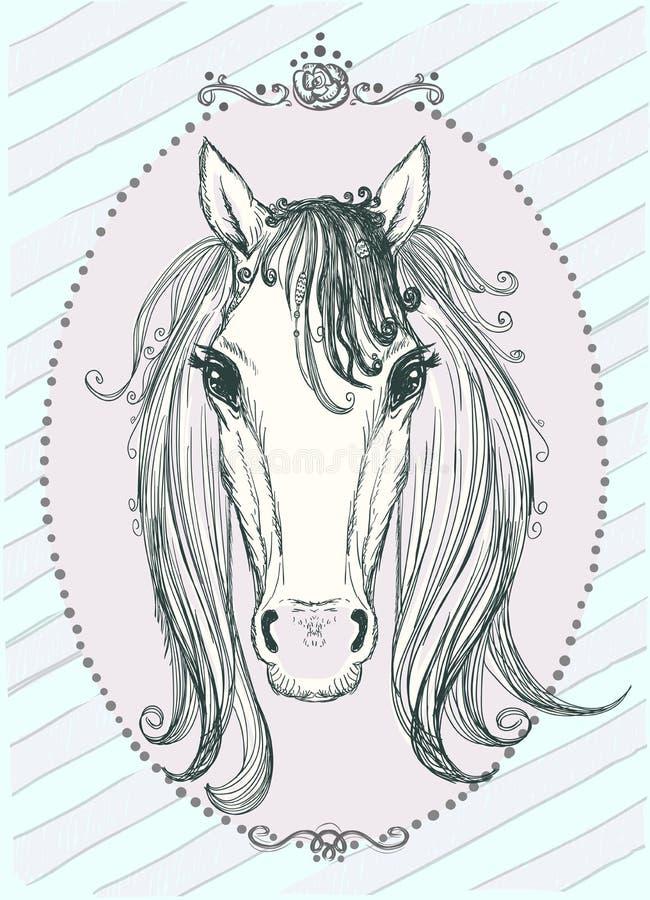 Grafisk illustration för gullig häst, tappningstil vektor illustrationer
