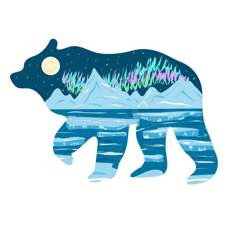 Grafisk illustration Polart nattlandskap av sjön, is och nordliga ljus Illustration för t-skjortor, diken eller royaltyfri illustrationer