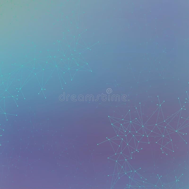 Grafisk illustrationmolekyl och kommunikation Färgrika prickar med anslutningar för din design royaltyfri bild