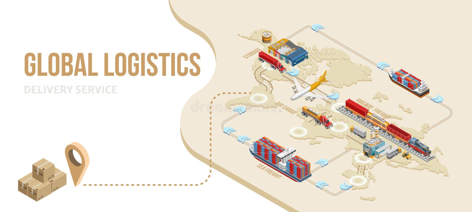 Grafisk intrig av global logistikservice royaltyfri illustrationer