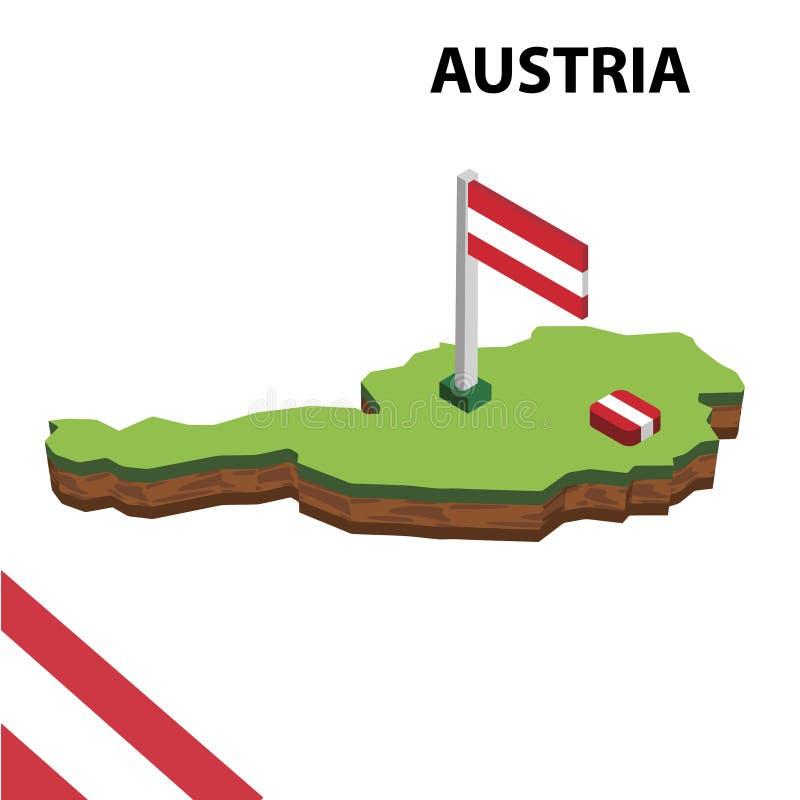 Grafisk isometrisk översikt för information och flagga av Österrike isometrisk illustration f?r vektor 3d stock illustrationer