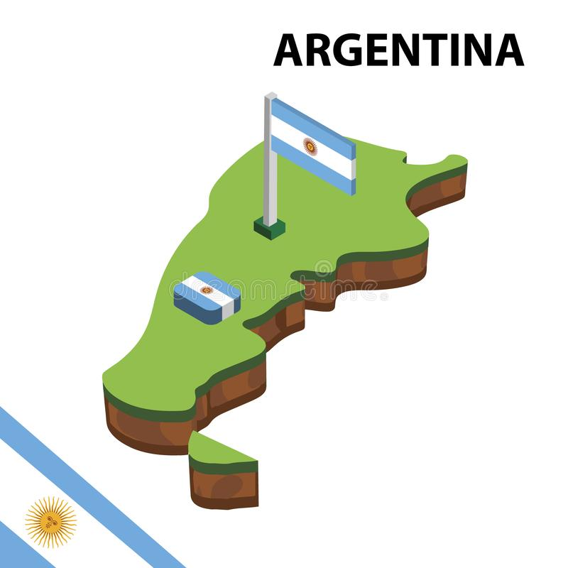 Grafisk isometrisk översikt för information och flagga av Argentina isometrisk illustration f?r vektor 3d stock illustrationer