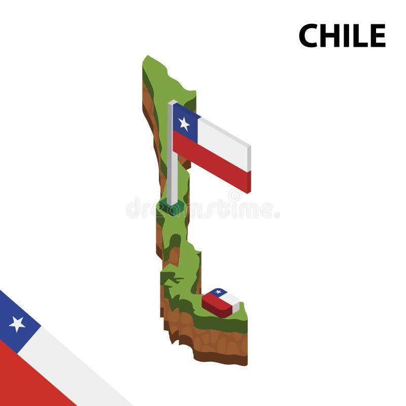 Grafisk isometrisk översikt för information och flagga av CHILE isometrisk illustration f?r vektor 3d royaltyfri illustrationer