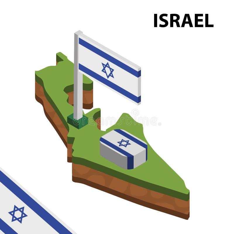 Grafisk isometrisk översikt för information och flagga av ISRAEL isometrisk illustration f?r vektor 3d vektor illustrationer