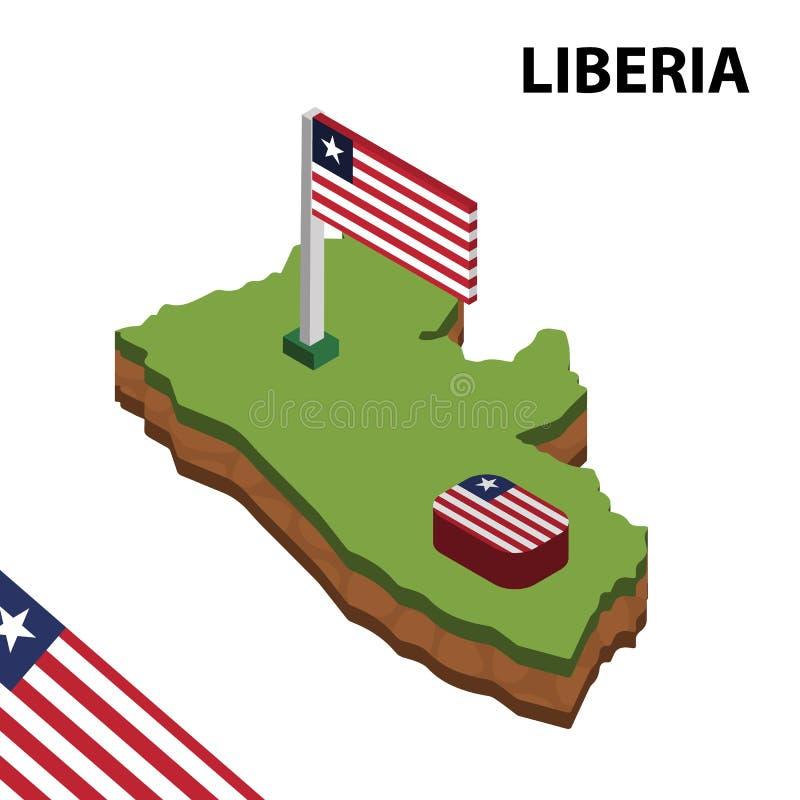 Grafisk isometrisk översikt för information och flagga av LIBERIA isometrisk illustration f?r vektor 3d vektor illustrationer