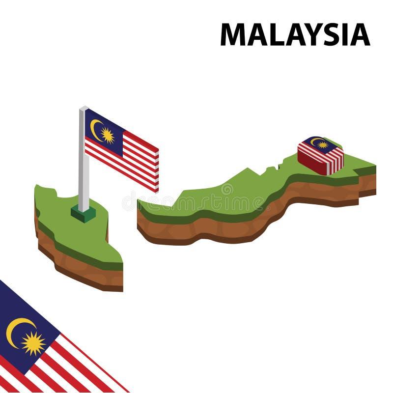 Grafisk isometrisk översikt för information och flagga av MALAYSIA isometrisk illustration f?r vektor 3d royaltyfri illustrationer