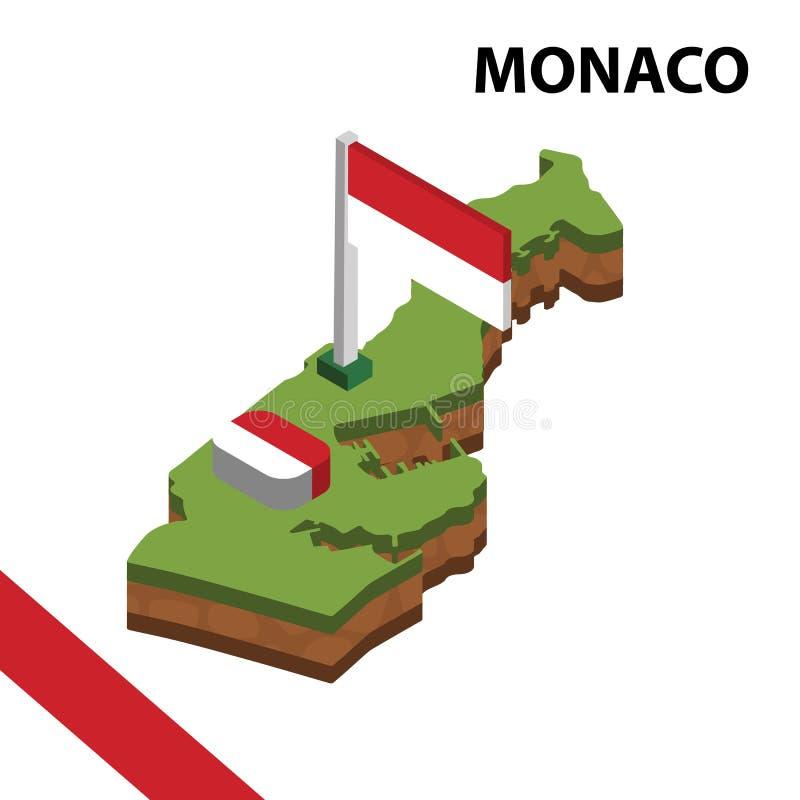 Grafisk isometrisk översikt för information och flagga av MONACO isometrisk illustration f?r vektor 3d vektor illustrationer