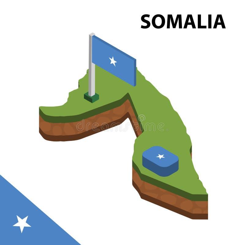 Grafisk isometrisk översikt för information och flagga av SOMALIA isometrisk illustration f?r vektor 3d vektor illustrationer