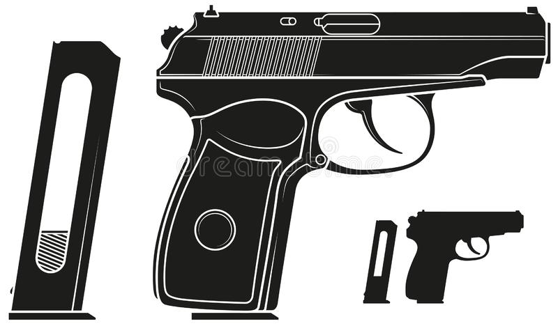 Grafisk konturhandeldvapenpistol med ammogemet royaltyfri illustrationer