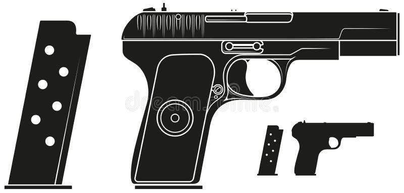 Grafisk konturhandeldvapenpistol med ammogemet vektor illustrationer