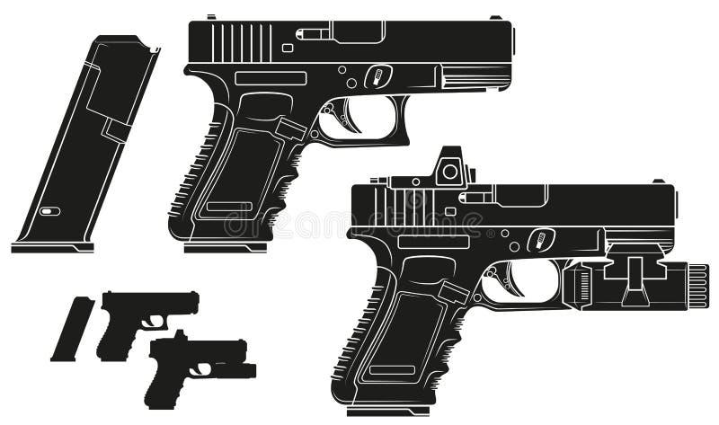 Grafisk konturhandeldvapenpistol med ammogemet stock illustrationer