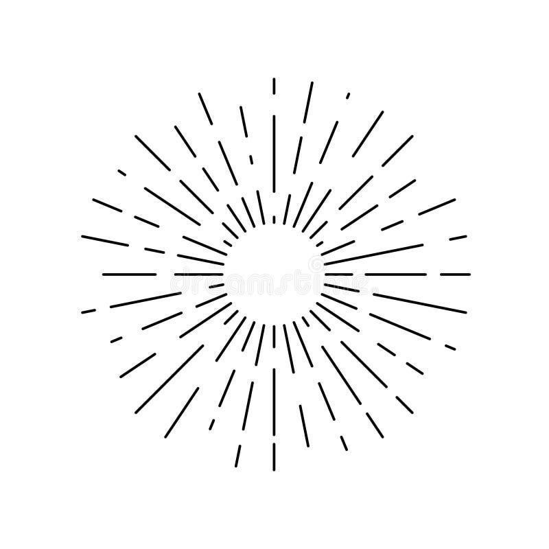 Grafisk linjär symbol för strålsol stock illustrationer