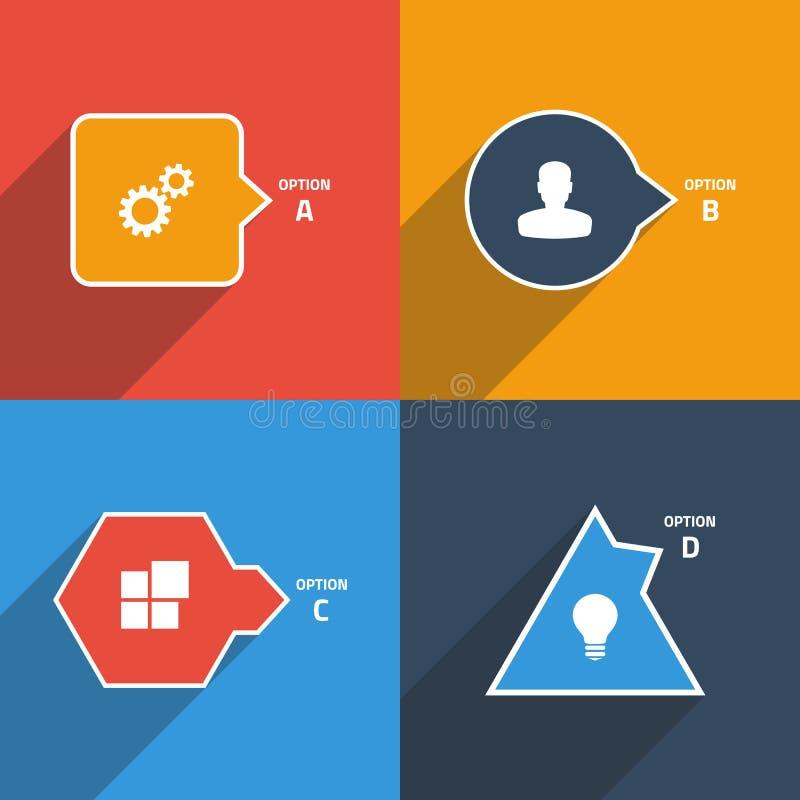 Grafisk mall för information: fyrkant cirkel, romb, triangel royaltyfri illustrationer