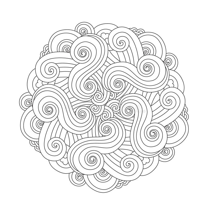 Grafisk Mandala med vågor och curles Beståndsdel av havet Zentangle inspirerade stil stock illustrationer