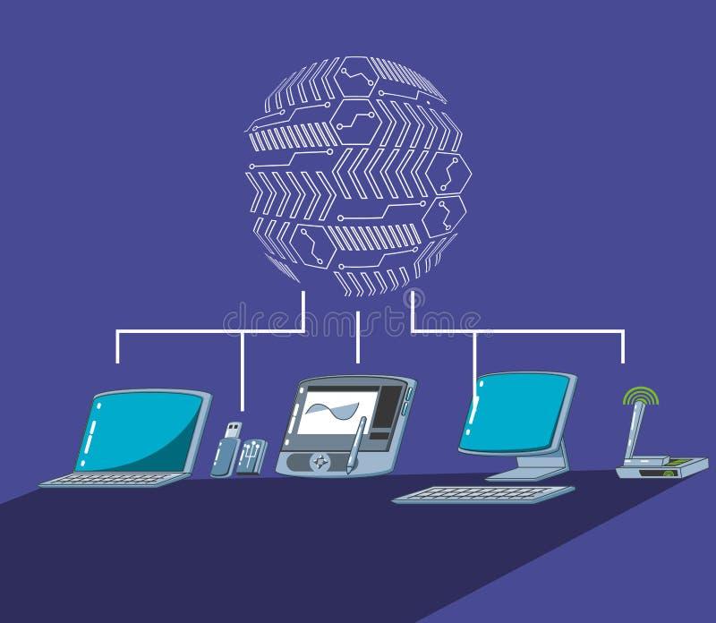 Grafisk minnestavla med datorer vektor illustrationer