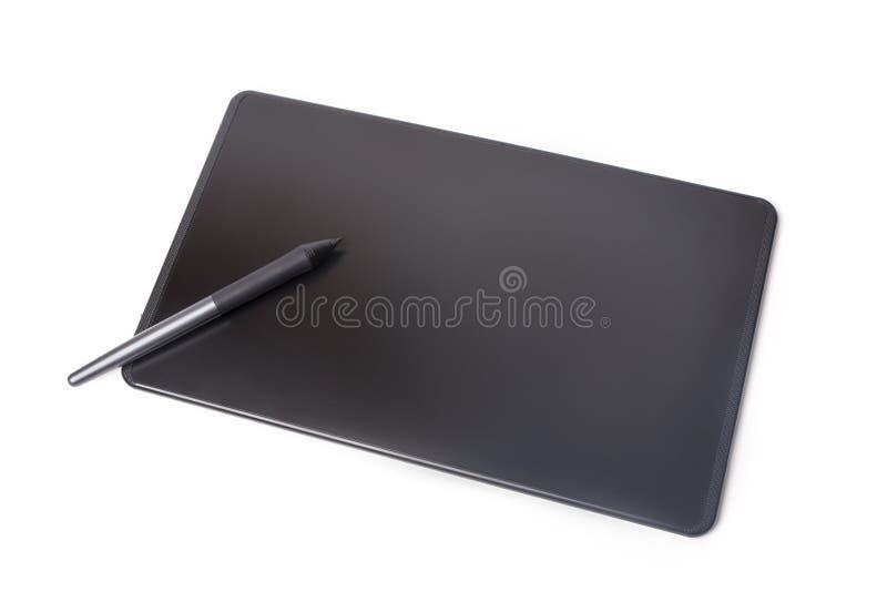 Grafisk minnestavla och penna som isoleras på vit bakgrund arkivfoton
