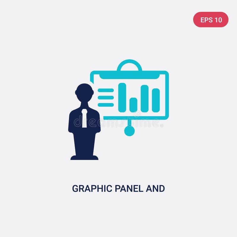 Grafisk panel för färg två och manvektorsymbol från affärsidé det isolerade blåa grafisk symbolet för panel- och manvektortecknet stock illustrationer