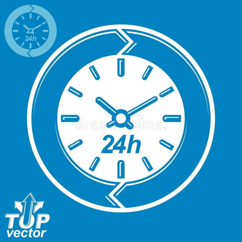 Grafisk rengöringsdukvektor 24 timmar tidmätare, dygnetrunt- plan pictogr vektor illustrationer