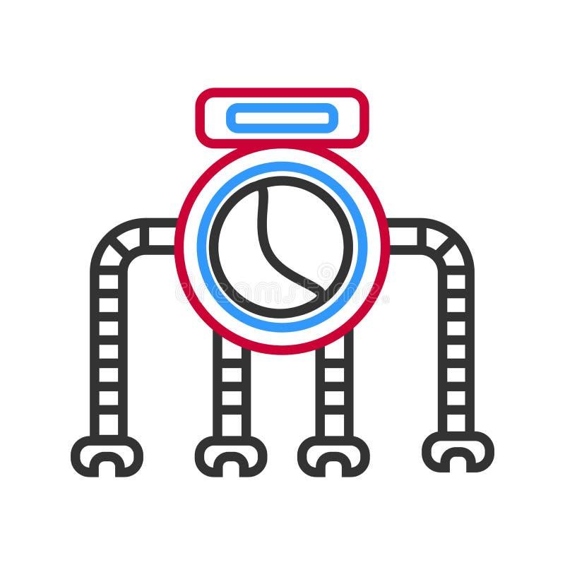 Grafisk robot med fyra ben som isoleras på vit royaltyfri illustrationer