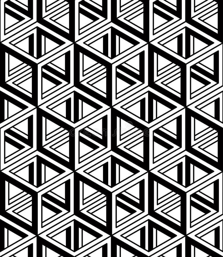 Grafisk sömlös abstrakt modell, vanlig geometrisk svart och w vektor illustrationer