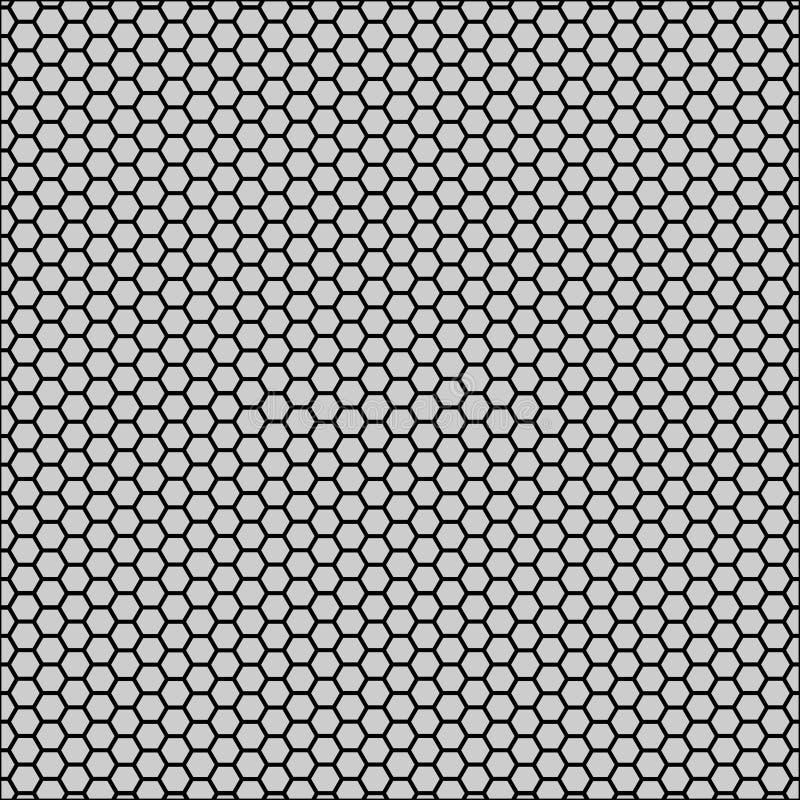 Grafisk sömlös modell som göras av svart honungskakamodell över vit royaltyfri illustrationer