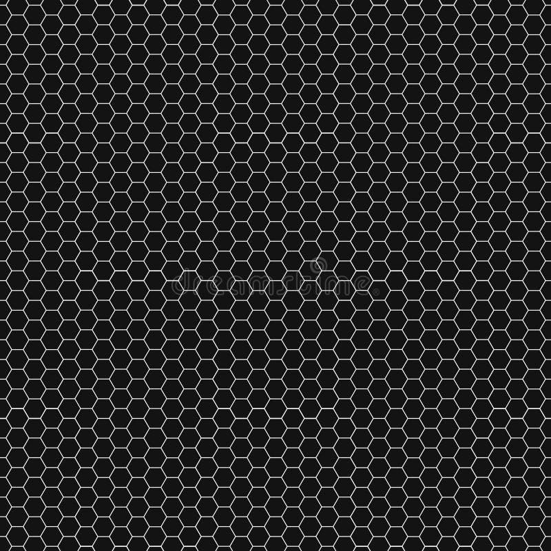 Grafisk sömlös modell som göras av svart honungskakamodell över vit stock illustrationer