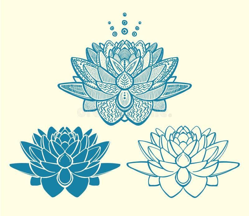 Grafisk samling för logoer för lotusblommablommor royaltyfri illustrationer