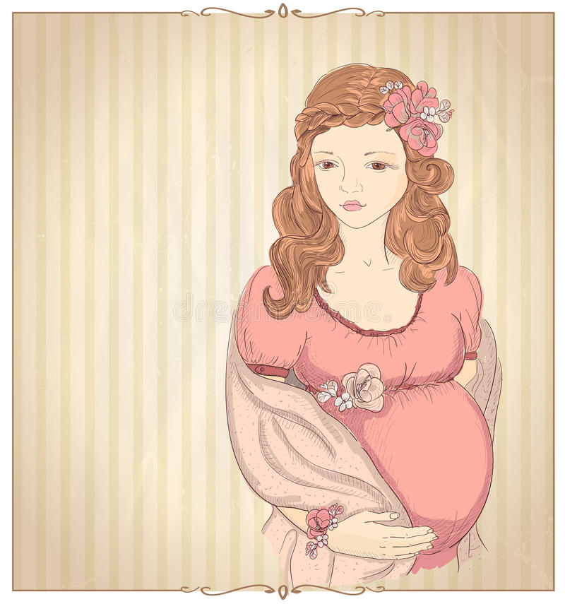Grafisk stående för tappningstil av en gravid kvinna vektor illustrationer