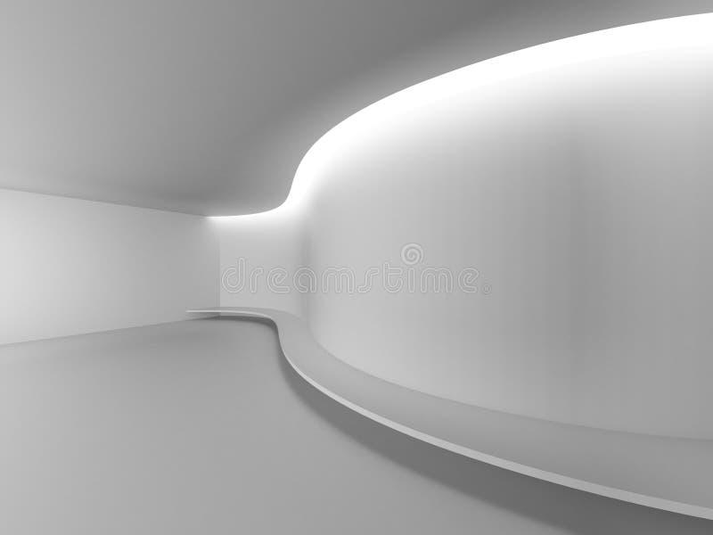 Grafisk stil för vit tom för galleriöppet utrymme för rum modern kurva för utställning royaltyfri illustrationer