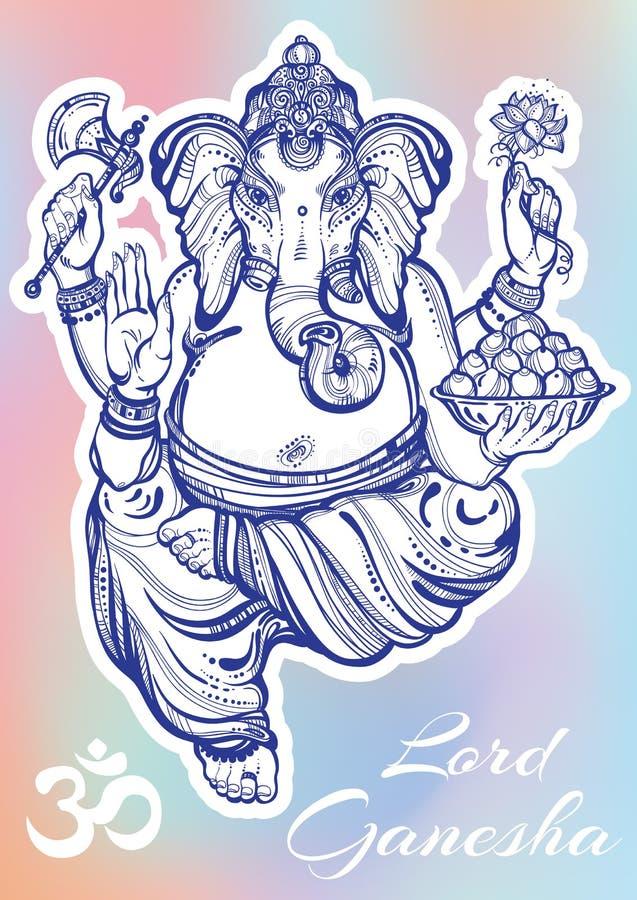 Grafisk stil Lord Ganesha för tappning över färgrik bakgrund Högkvalitativ vektorillustration, tatueringkonst, yoga, indier, brun royaltyfri illustrationer