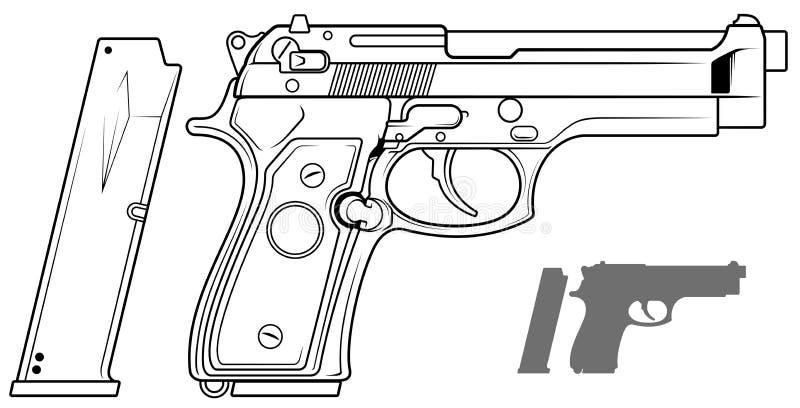 Grafisk svartvit pistol med ammogemet royaltyfri illustrationer