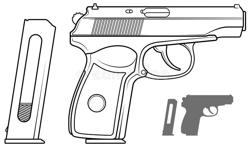 Grafisk svartvit pistol med ammogemet stock illustrationer