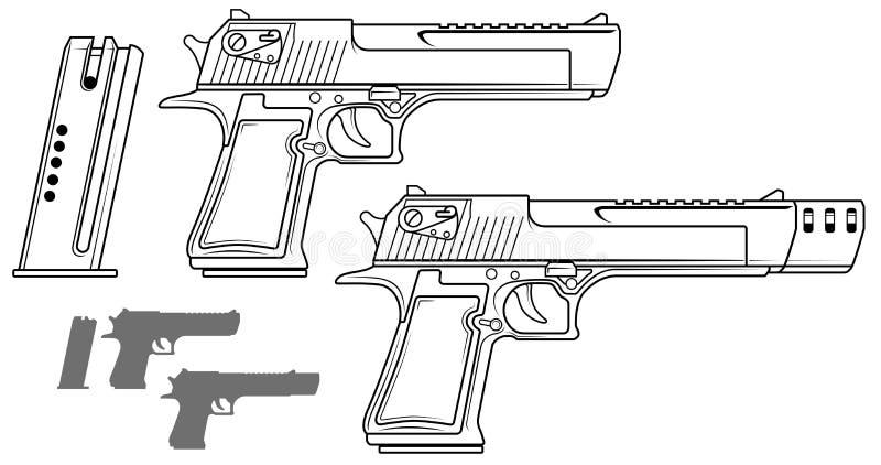 Grafisk svartvit pistol med ammogemet vektor illustrationer