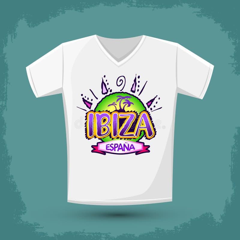 Grafisk T-tröjadesign, Ibiza Espana - den Ibiza Spanien spanjoren smsar stock illustrationer