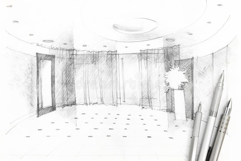 Grafisk teckning av korridoren med formgivarehjälpmedel royaltyfria bilder