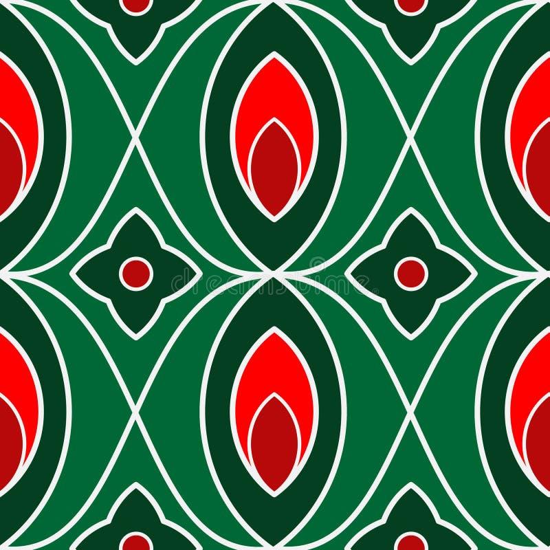 Grafisk teckning av sidor och blommor av röd och grön färg vektor illustrationer