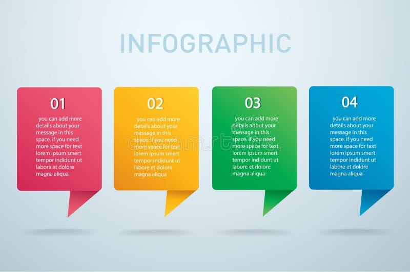 Grafisk vektormall för fyrkantig information med 4 alternativ Kan användas för rengöringsduken, diagrammet, grafen, presentation stock illustrationer