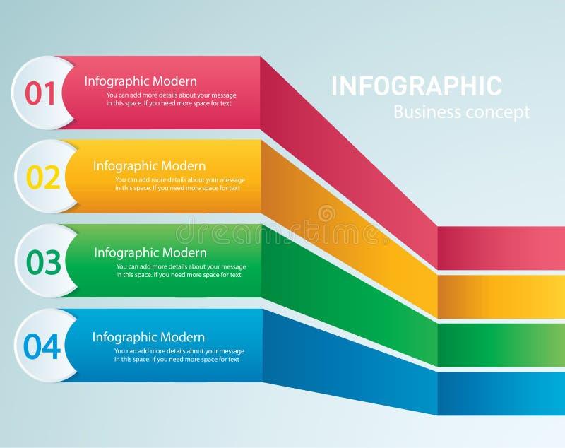 Grafisk vektormall för information med 4 alternativ Kan användas för rengöringsduken, diagrammet, grafen, presentationen, diagram royaltyfri illustrationer