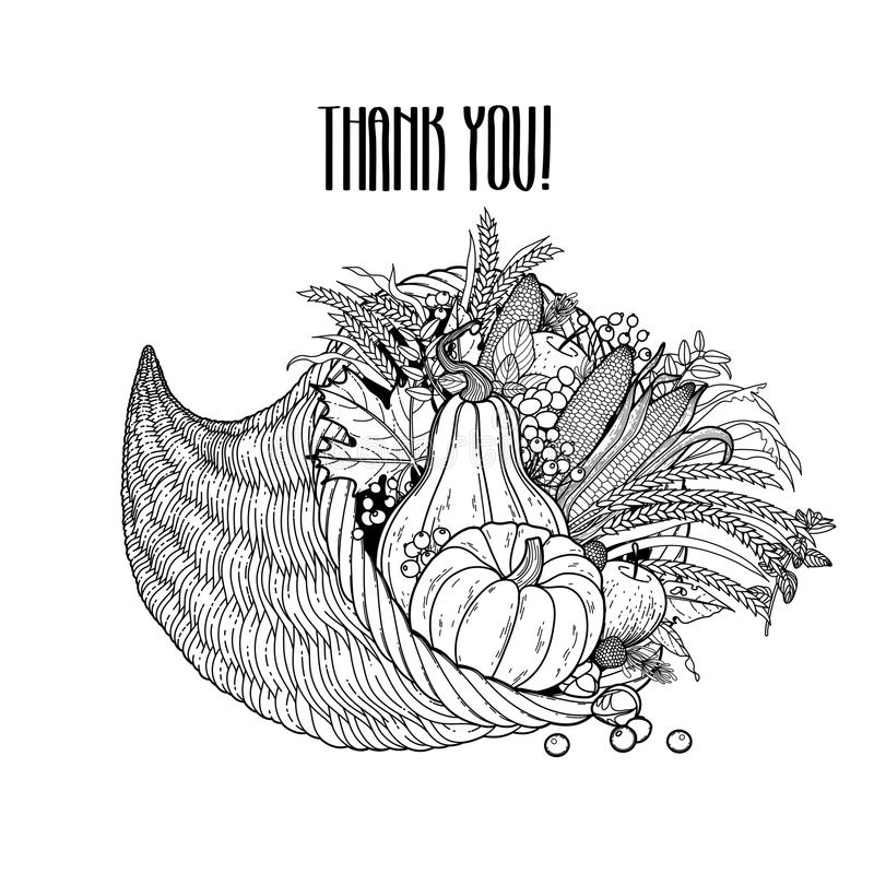 Grafisk ymnighetshorn royaltyfri illustrationer