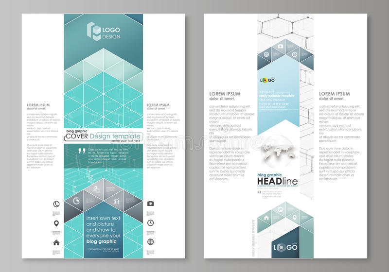 Grafiska affärsmallar för blogg Mall för sidawebsitedesign, lätt redigerbar abstrakt vektororientering Kemimodell royaltyfri illustrationer