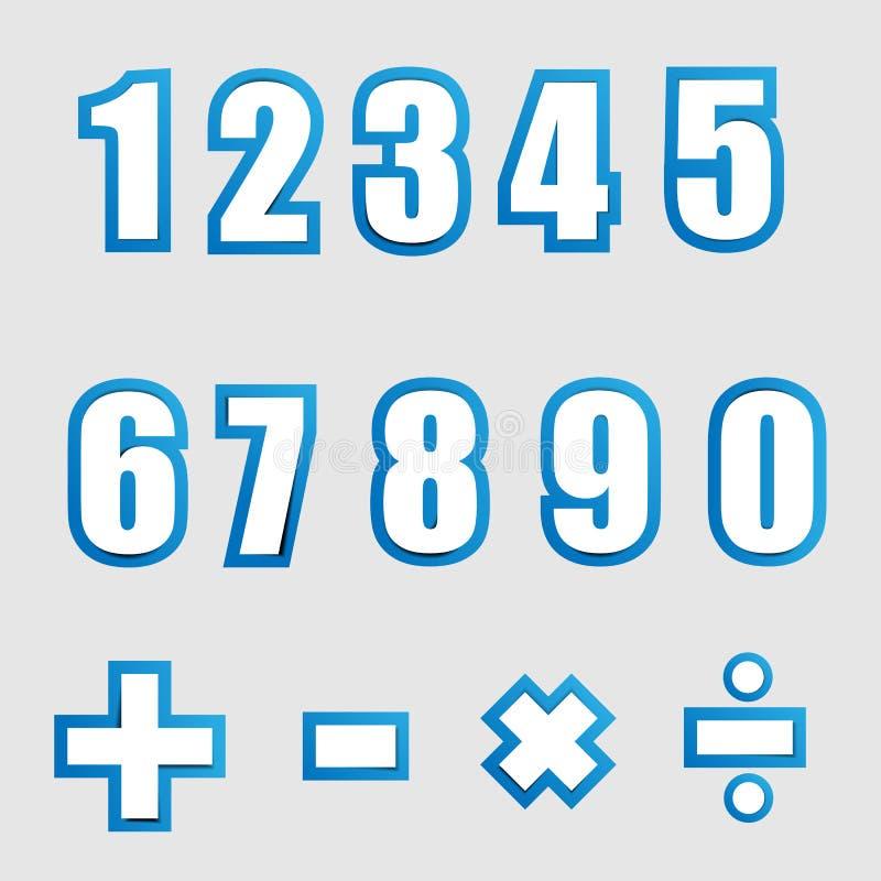 Grafiska alfabetnummer för vitbok på blått vektor illustrationer