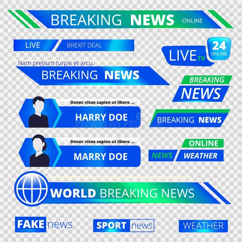 Grafiska baner för nyheterna Avbrott av diagrammet för vektor för baner för titelrad för televisionTV-sändningsport vektor illustrationer